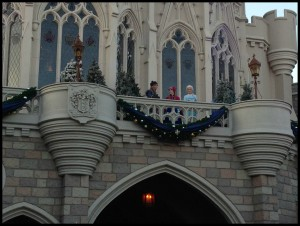 """It was """"snowing"""" as we ran into the castle."""