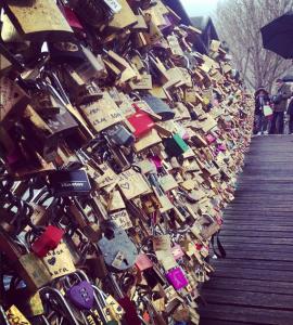 Love locks on the Ponts des Arts.